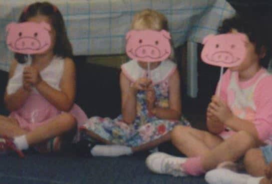 My daughter, Angela (R), performing in her Three Pigs preschool play